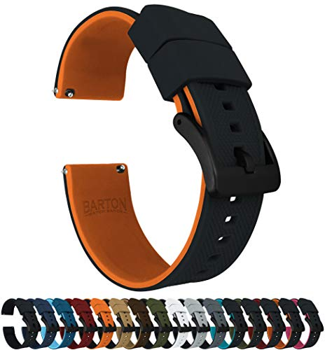 Barton Elite Silicone Watch Bands - Black Buckle Quick Release - Choose Color - 18mm, 20mm & 22mm Watch Straps