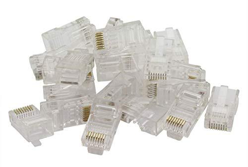 ZRM&E 100pcs 8P8C RJ45 Crimp Connector Cat5e Unshielded Crystal Heads Ethernet Cable Plug Terminals Gold-plated Network 8P8C Modular RJ 45 Connector