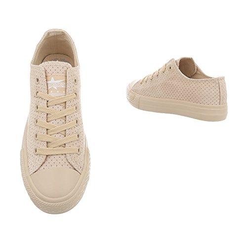 Sneakers Low Damenschuhe Schnürsenkel Ital-Design Freizeitschuhe Beige G-94