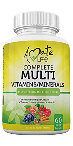 Multivitamins/Minerals Capsules - Premium 42 Fruits and Veggies Blend - Daily Multivitamin Capsule - Antioxidant Supplement Promotes Brain Health and Healthy Joints - 60 Capsules by Amate Life