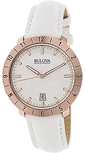 Accutron Womens Watch (Bulova Accutron II Moonview White Leather and Dial)