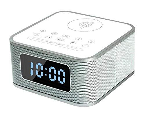 ワイヤレス充電携帯電話ブルートゥーススピーカーミニ目覚まし時計小型スピーカーポータブルオーディオ (Color : ホワイト)  ホワイト B07QK3SCPB
