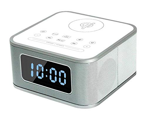 WangGai ワイヤレス充電携帯電話ブルートゥーススピーカーミニ目覚まし時計小型スピーカーポータブルオーディオ (Color : ホワイト)   B07QHXB1D4