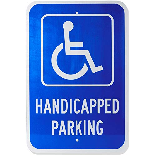 (AmazonBasics Handicapped Parking Sign, Reflective, 18''x12'')