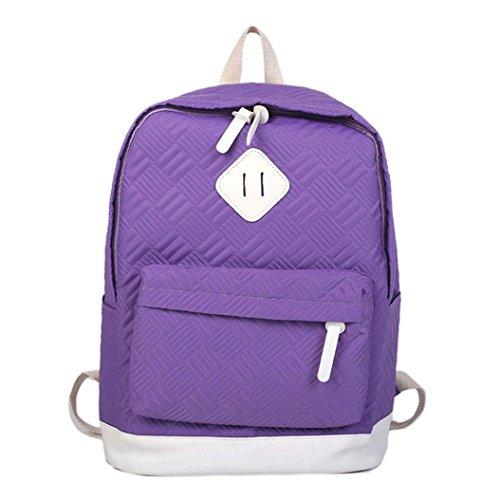 lotus.flower 2018 Retro Solid Color Sport Backpack Student Bag Shoulder Bag Sport School Bags Lightweight for Lovers Adult Children Boys Girls (Purple) by lotus.flower