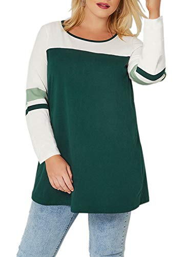 Itsmode Womens Casual Striped Blouses for Women Color Block Long Sleeve Loose Plus Size Jersey Tops Knit T-Shirt Sweatshirt Baseball Tee Sport Active XL Green