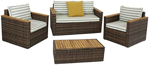 Sunnydaze Kenmare 4-Piece Outdoor Patio Conversation Furniture Set