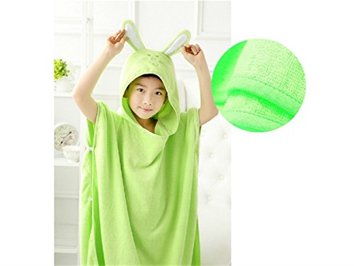 Wesource Activates Kid Cartoon Rabbit Hooded Dressing Gown Animal Sleepwear Bath Towel Cloak for Children (Green) by Wesource