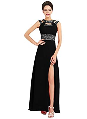 Azbro Women's Rhinestone High Slit Cut-out Front Prom Dress