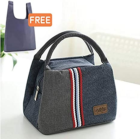 Insulated Lunch Bags Cooler Reusable Waterproof Grocery Bag Tote Lunch Box with Shoulder Strap Front Pocket for Women Kids School Work Picnic Travel Camping