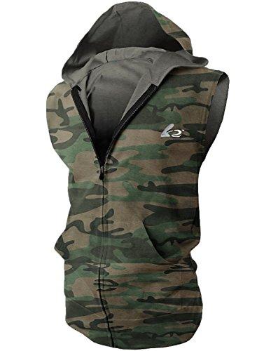 BigRabbit® Men's Sleeveless Workout Hoodie Zip-up Vests Gym Bodybuilding Lifting Tank Tops (M,Camo)
