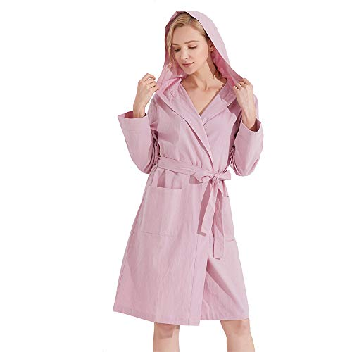 Kimono Robes for Women with Hooded Lightweight Summer Short Bathrobe Lilac S/M (Hooded Robe Short)