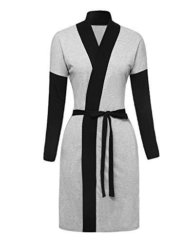 Suzicca Women's Kimono Robe Long Sleeve Pajamas V Neck Bathrobe Sleepwear Knee-Length Pajamas
