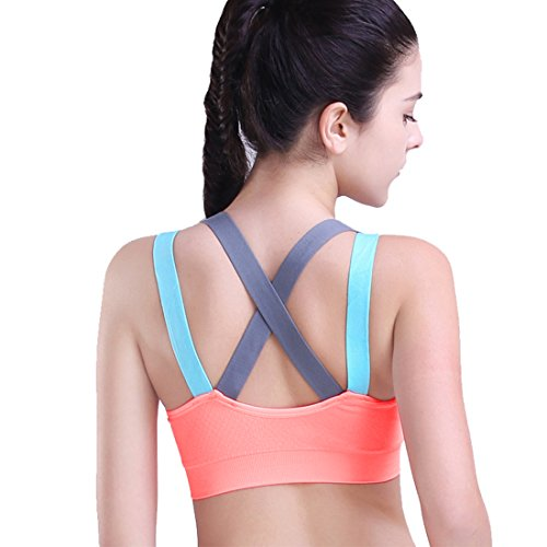 HeartFor Racerback Sports Bras for Women - Padded High Impact Workout ,Pack...