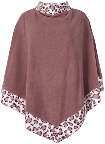 PurpleHanger Women's Animal Print Poncho Cape Coat Plus Size Mocha