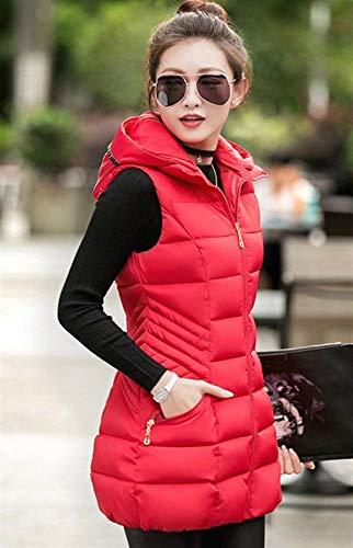 Outerwear Warm Bolawoo À Taille Fashion Casual Elégante Quilting Rouge Manche Gilet Longue Capuchon Matelassé Sleeveless Manteau Blouson Grande Femme Hiver Chic Mode Uni 8yrH68q