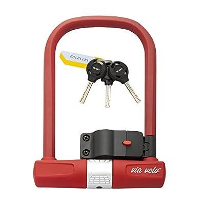Bike U Lock Red - Via Velo Red Heavy Duty Bike U-Lock, 15mm Shackle with Mounting Bracket For Road Bike Mountain Bike Electric Bike Folding Bike, Great Bike Safety Tool