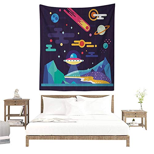 (alisoso Tapestries for Sale,Space,Galaxy Cosmos Universe Themed Solar System Stardust Comet UFO Planetary Illustration,Multicolor W51 x L60 inch Wall Decoration Tapestry Beach Mat)