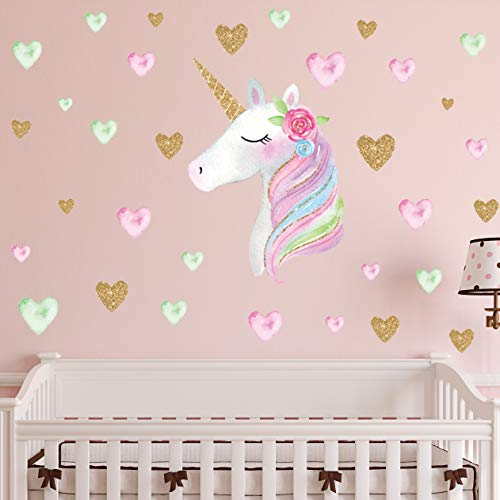 2 Sheets Large Size Unicorn Wall Decor,Removable Unicorn Wall Decals Stickers Decor for Gilrs Kids Bedroom Nursery… 5