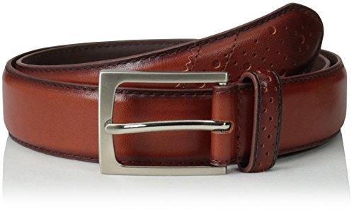 Florsheim Men's 32 Mm Full Grain Leather Wingtip Belt, Saddle Tan 32
