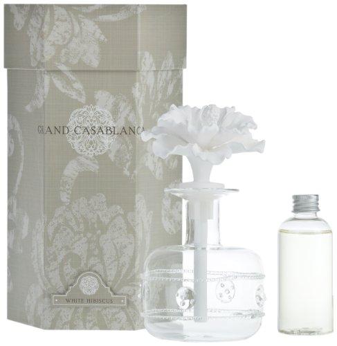 Zodax Grand Casablanca Porcelain Diffuser, White Hibiscus (Hibiscus Flower Porcelain)