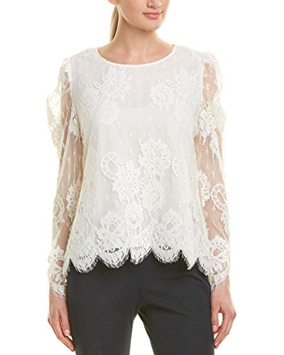 Vince Camuto Womens Long Sleeve Puff Shoulder Floral Lace Blouse Pearl Ivory ()