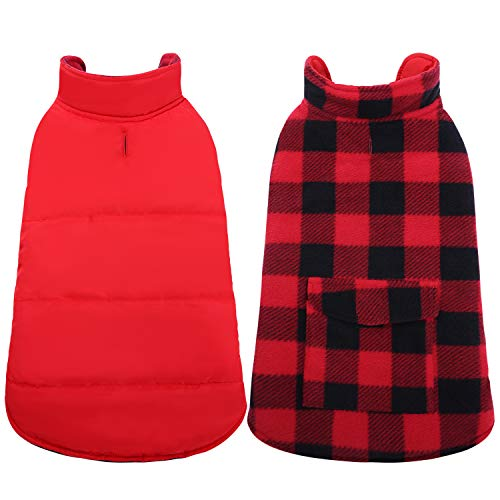(ASENKU Dog Winter Coat, Dog Fleece Jacket Plaid Reversible Dog Vest Waterproof Windproof Cold Weather Dog Clothes Pet Apparel for Small Medium Large Dogs Red)