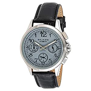 BLADE Men's Grey Dial Leather Band Watch - 3315G
