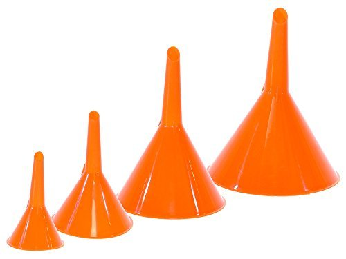 Majic 4-Pieces 4-Sizes Plastic Funnel Set for Car Oil, Gas and Fluids - Multi Purpose Funnel Set