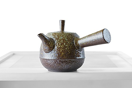 Ceramic Glazed Teapot with Wooden Handle Clay Tea Pot Taiwanese (Chinese) Teaware (mustard brown, green)
