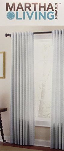 Martha Stewart Living River Mist Moroccan Geo Back Tab Curtain, 84 In.  Length