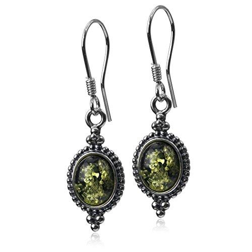 Sterling Silver Green Amber Oval Hook Earrings