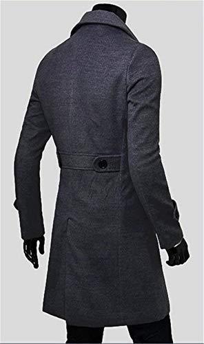 Slim Jacket Winter Long Grau Long Jackets Men's Winter Wool Slim Sleeve Coat Men's Windbreaker Business Outerwear Apparel Fit Huixin Bqfxnpn
