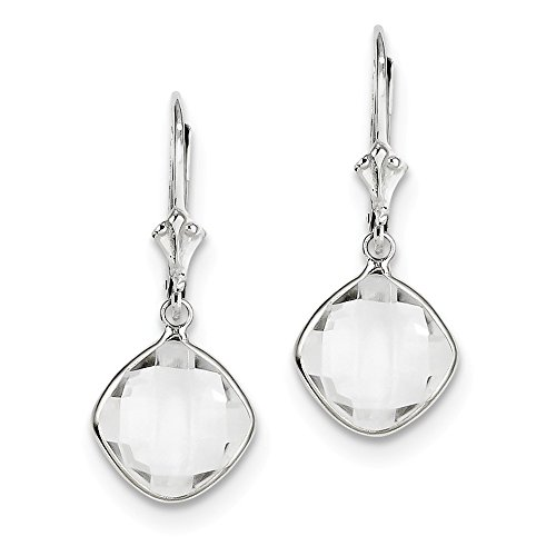 925 Sterling Silver White Topaz Drop Dangle Chandelier Lever Back Leverback Earrings Fine Jewelry Gifts For Women For Her