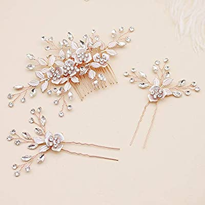 Oriamour Hair Side Combs With 2 Set Hair Pins Bridal Hair Accessories Wedding Headpiece Set