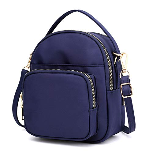 SCIEN Small Crossbody Purse Mini Nylon Shoulder Bag Cell Phone Pouch Zipper Pocket for Women, C Dark Blue ()