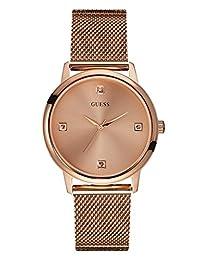 GUESS Men's Rose Gold-Tone Slim Round Diamond Watch