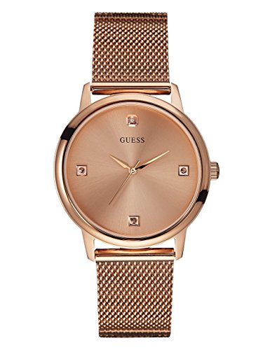 GUESS-Mens-U0280G2-Dressy-Rose-Gold-Tone-Watch-with-Plain-Rose-Gold-Dial-and-Mesh-Deployment-Buckle