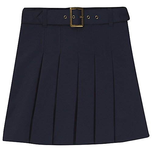 French Toast Big Girls' Pleated Scooter with Square Buckle Belt, Navy, (Square Buckle Belt)