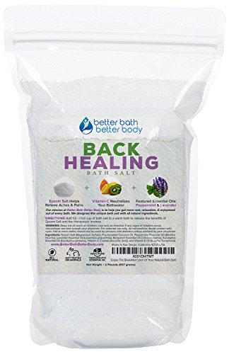 Back Healing Bath Salt 32oz (2-Lbs) Epsom Salt With Peppermint, Lavender, Bergamot, Eucalyptus Essential Oil Plus Vitamin C Crystals - Bath Soak For Back Aches & Pains