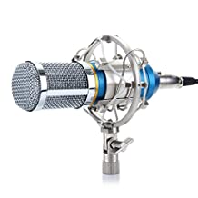 Excelvan BM-800 Condenser Microphone Sound Recording Dynamic + Mic Shock Mount, Ideal for Radio Broadcasting, Voice-Over and Recording Studio (Blue)