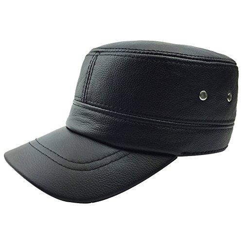 Sandy Ting Men Leather Hat Army Caps With Fold-Down (Fold Down Earflaps)
