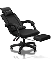 SAHAUHY Home Mesh Gaming Chair Ergonomic Computer Chair Swivel Chair with Retractable Footrest,Adjustable Height and Back (Black)