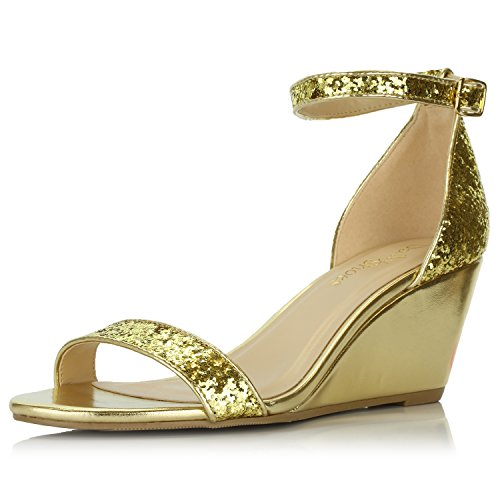DailyShoes Women's Summer Fashion Design Ankle Strap Buckle Low Wedge Platform Heel Sandals Shoes, Gold Glitter, 9 B(M) ()