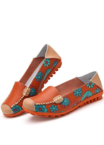 MatchLife Damen Vintage Leder Flach Pumpe Casual Schuhe Style2-Orange