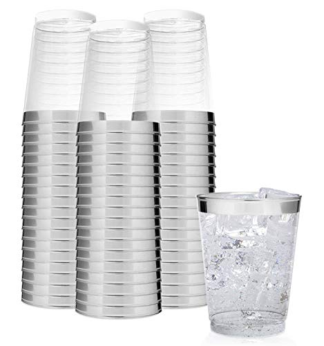 Elegant Silver Rimmed 14 Oz Clear Plastic Tumblers Fancy Disposable Cups with Silver Rim Prefect for Holiday Party Wedding and Everyday Occasions 100 Pack