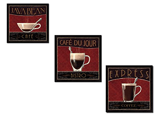Classic Brown and Red Bistro, Cafe and Coffee Print Set by Marco Fabiano; Kitchen Decor; Three 12x12in Unframed Posters ()