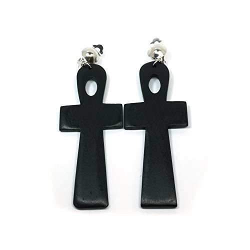 Ethnic Cross (Teri's Boutique Women's Natural Wood Ethnic Cross Fashion Christian Clip Style Dangle Earrings (Black))