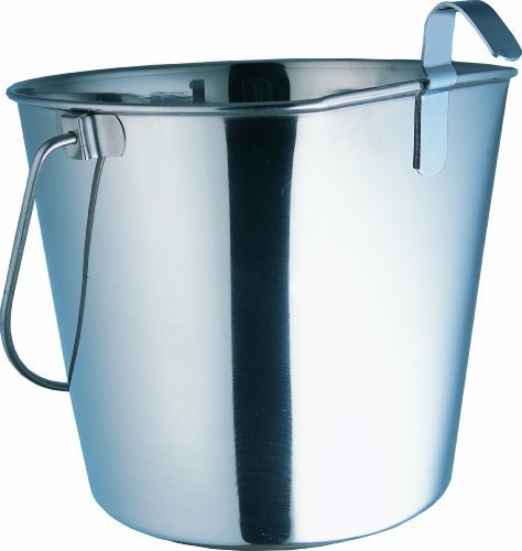 Indipets Heavy Duty Flat Sided Stainless Steel Pail, 4-Quart by Indipets