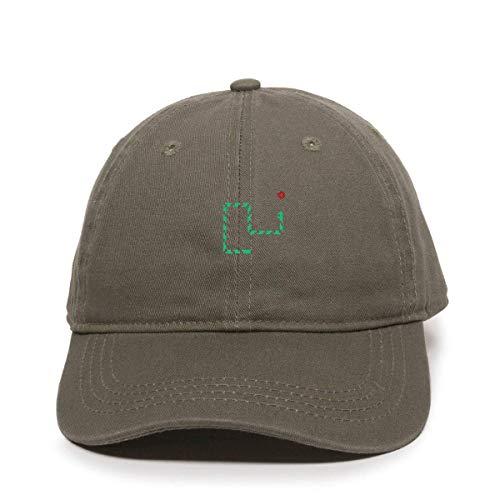 Cap for Men Women Retro Snake Game Baseball Cap Embroidered Cotton Adjustable Dad Hat Olive
